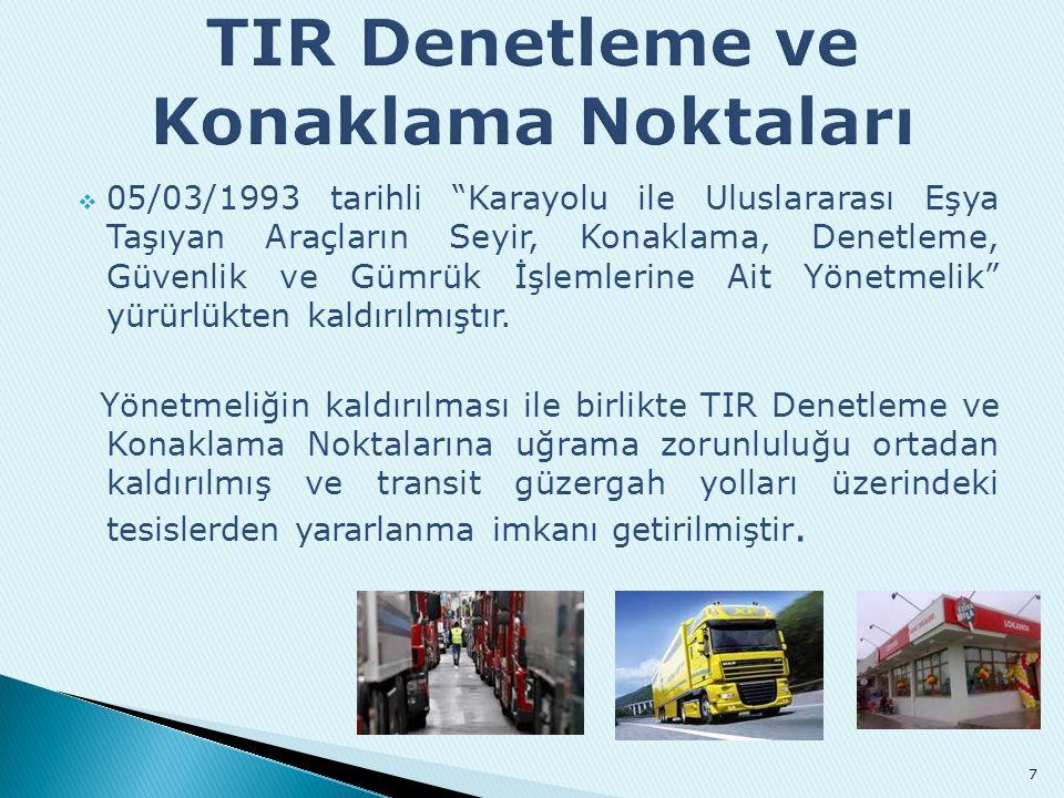 """ 05/03/1993 tarihli """"Karayolu ile Uluslararası Eşya Taşıyan Araçların Seyir, Konaklama, Denetleme, Güvenlik ve Gümrük İşlemlerine Ait Yönetmelik"""" yür"""