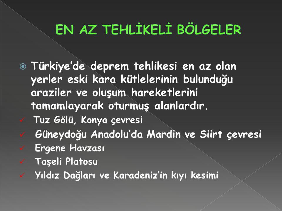  Türkiye'de deprem tehlikesi en az olan yerler eski kara kütlelerinin bulunduğu araziler ve oluşum hareketlerini tamamlayarak oturmuş alanlardır.  T