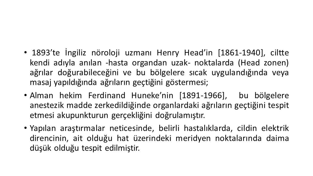 • 1893'te İngiliz nöroloji uzmanı Henry Head'in [1861-1940], ciltte kendi adıyla anılan -hasta organdan uzak- noktalarda (Head zonen) ağrılar doğurabi