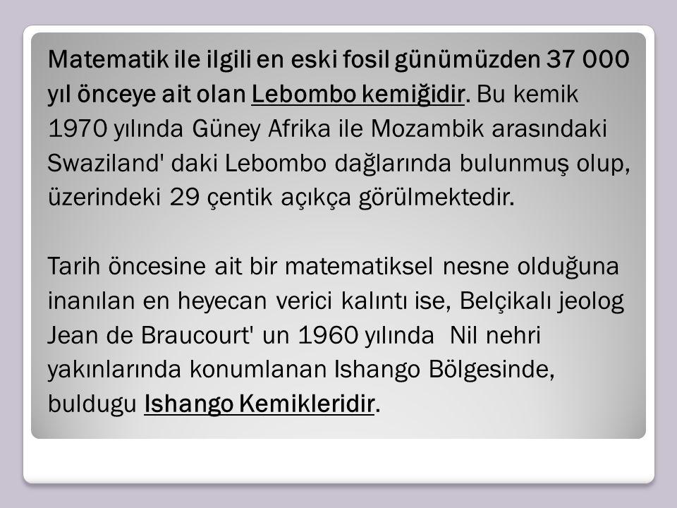 Matematik ile ilgili en eski fosil günümüzden 37 000 yıl önceye ait olan Lebombo kemiğidir.