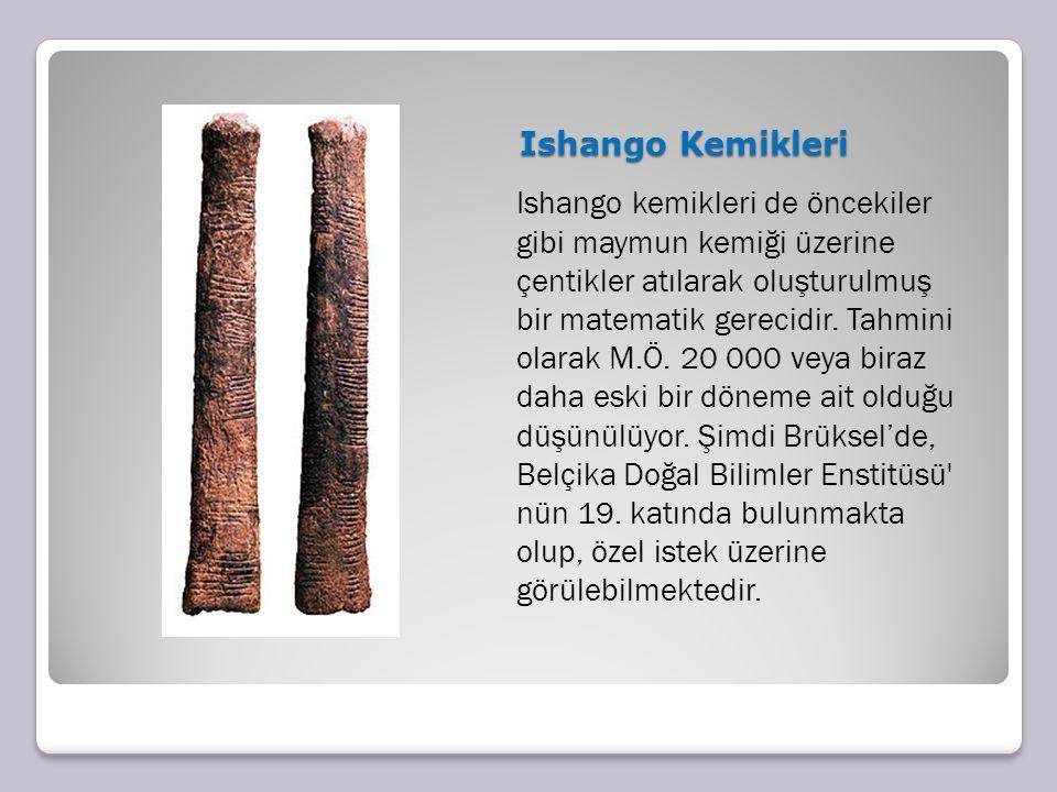 Ishango Kemikleri Ishango Kemikleri Ishango kemikleri de öncekiler gibi maymun kemiği üzerine çentikler atılarak oluşturulmuş bir matematik gerecidir.