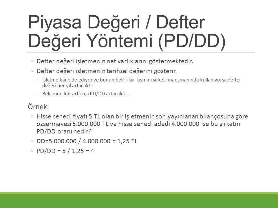 Piyasa Değeri / Defter Değeri Yöntemi (PD/DD) ◦Defter değeri işletmenin net varlıklarını göstermektedir. ◦Defter değeri işletmenin tarihsel değerini g