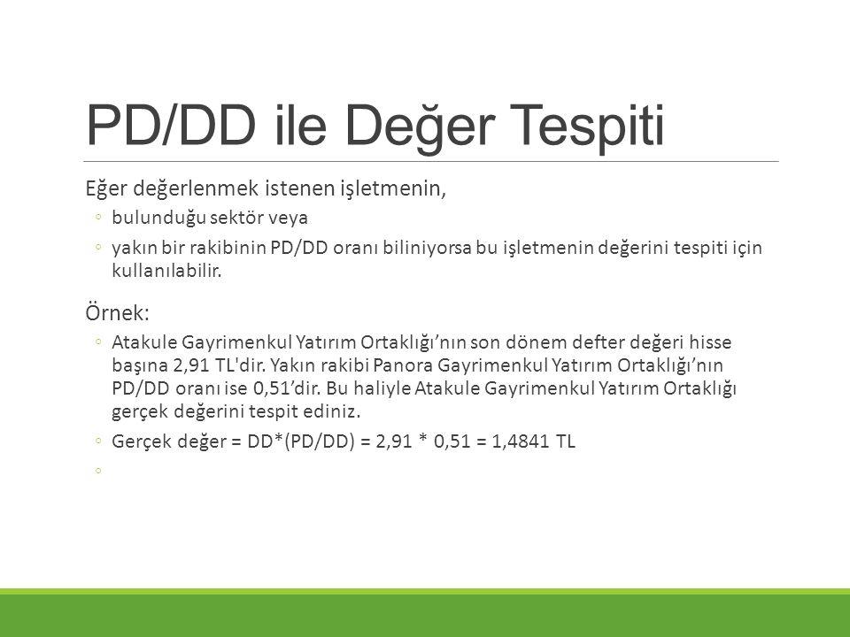 PD/DD ile Değer Tespiti Eğer değerlenmek istenen işletmenin, ◦bulunduğu sektör veya ◦yakın bir rakibinin PD/DD oranı biliniyorsa bu işletmenin değerini tespiti için kullanılabilir.
