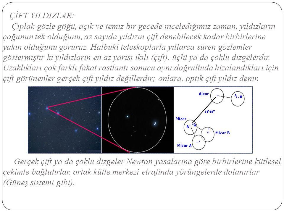 ÇİFT YILDIZLAR: Çıplak gözle göğü, açık ve temiz bir gecede incelediğimiz zaman, yıldızların çoğunun tek olduğunu, az sayıda yıldızın çift denebilecek