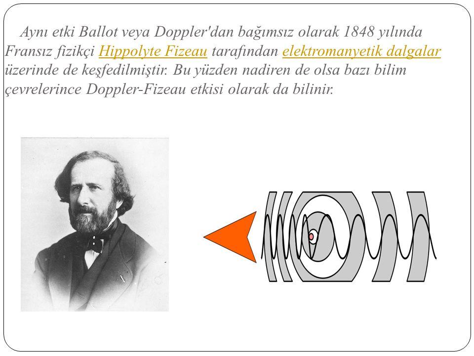 Aynı etki Ballot veya Doppler'dan bağımsız olarak 1848 yılında Fransız fizikçi Hippolyte Fizeau tarafından elektromanyetik dalgalar üzerinde de keşfed