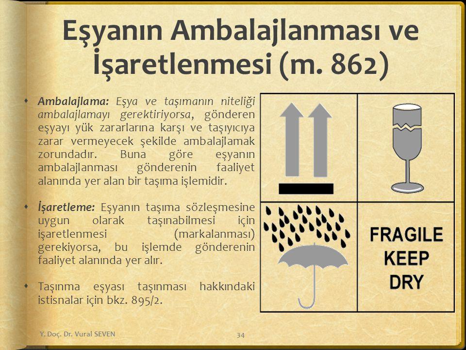 Eşyanın Ambalajlanması ve İşaretlenmesi (m. 862)  Ambalajlama: Eşya ve taşımanın niteliği ambalajlamayı gerektiriyorsa, gönderen eşyayı yük zararları