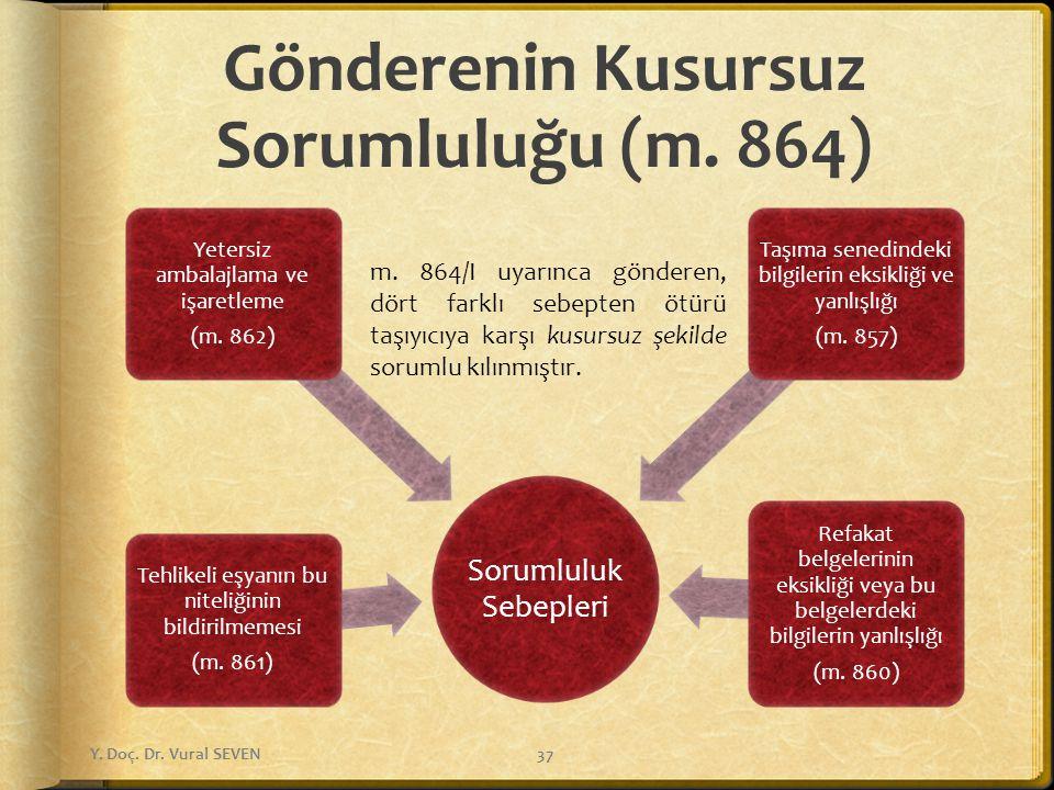 Gönderenin Kusursuz Sorumluluğu (m. 864) Sorumluluk Sebepleri Tehlikeli eşyanın bu niteliğinin bildirilmemesi (m. 861) Yetersiz ambalajlama ve işaretl