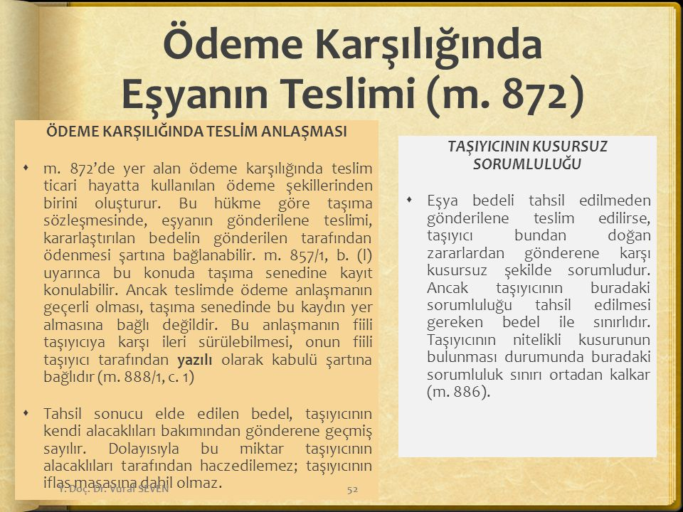 Ödeme Karşılığında Eşyanın Teslimi (m. 872) ÖDEME KARŞILIĞINDA TESLİM ANLAŞMASI  m. 872'de yer alan ödeme karşılığında teslim ticari hayatta kullanıl