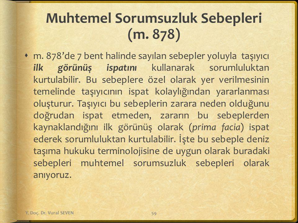 Muhtemel Sorumsuzluk Sebepleri (m.878)  m.