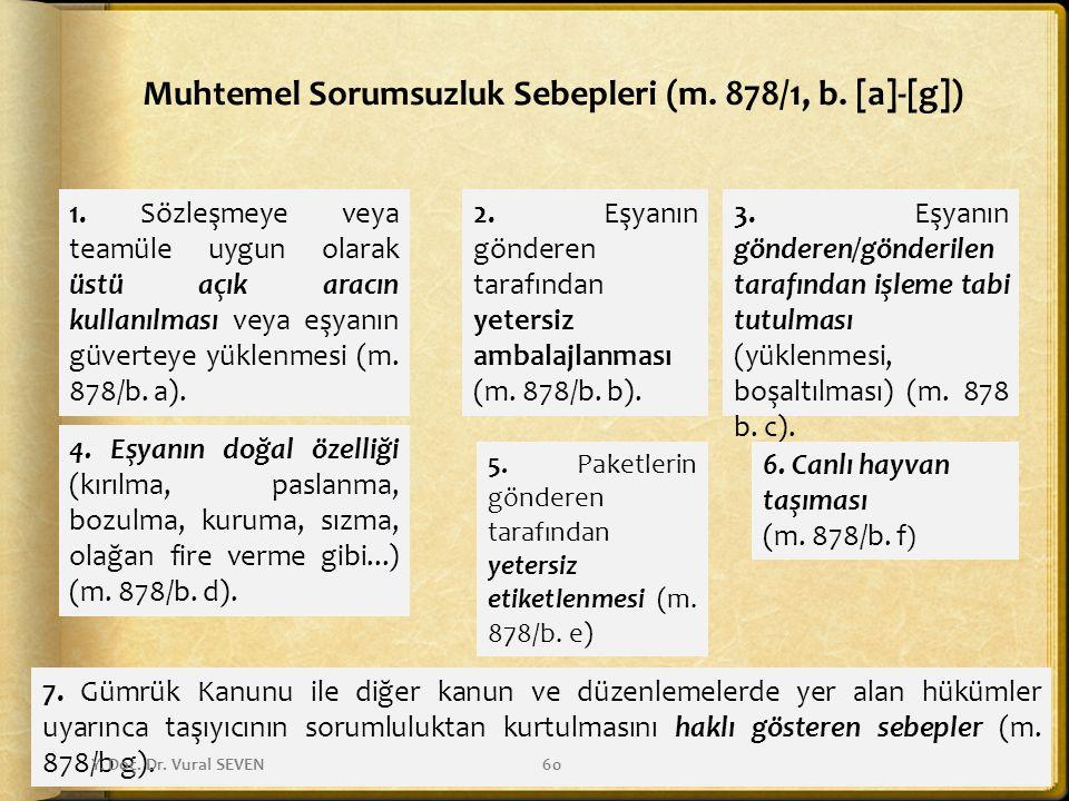 Muhtemel Sorumsuzluk Sebepleri (m. 878/1, b. [a]-[g]) 1. Sözleşmeye veya teamüle uygun olarak üstü açık aracın kullanılması veya eşyanın güverteye yük