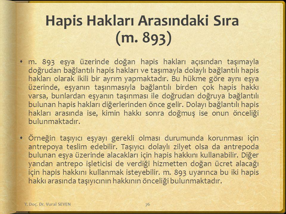 Hapis Hakları Arasındaki Sıra (m. 893)  m. 893 eşya üzerinde doğan hapis hakları açısından taşımayla doğrudan bağlantılı hapis hakları ve taşımayla d