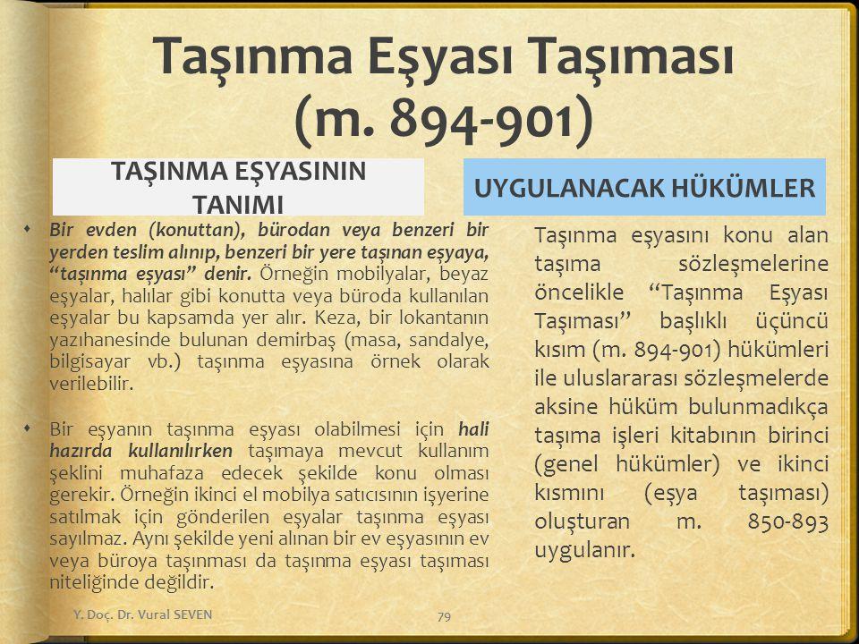 Taşınma Eşyası Taşıması (m. 894-901) TAŞINMA EŞYASININ TANIMI  Bir evden (konuttan), bürodan veya benzeri bir yerden teslim alınıp, benzeri bir yere