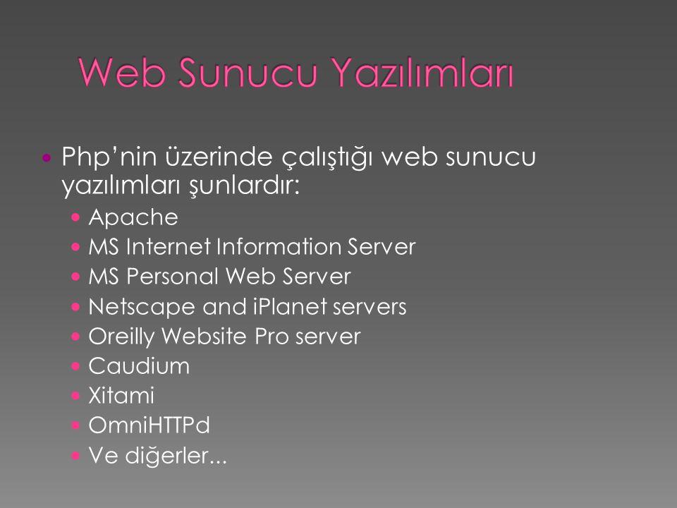  Php'nin üzerinde çalıştığı web sunucu yazılımları şunlardır:  Apache  MS Internet Information Server  MS Personal Web Server  Netscape and iPlan