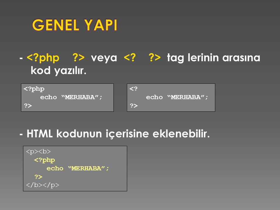 - veya tag lerinin arasına kod yazılır. - HTML kodunun içerisine eklenebilir.