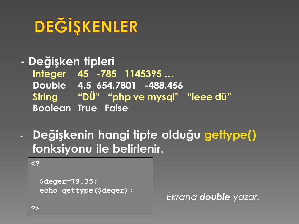 """- Değişken tipleri Integer45 -785 1145395 … Double4.5 654.7801 -488.456 String""""DÜ"""" """"php ve mysql"""" """"ieee dü"""" BooleanTrue False - Değişkenin hangi tipte"""