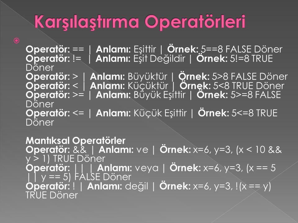 Operatör: == | Anlamı: Eşittir | Örnek: 5==8 FALSE Döner Operatör: != | Anlamı: Eşit Değildir | Örnek: 5!=8 TRUE Döner Operatör: > | Anlamı: Büyüktü