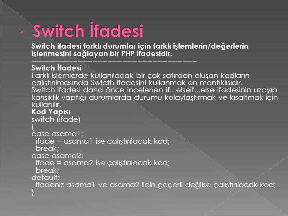  Switch ifadesi farklı durumlar için farklı işlemlerin/değerlerin işlenmesini sağlayan bir PHP ifadesidir. ------------------------------------------
