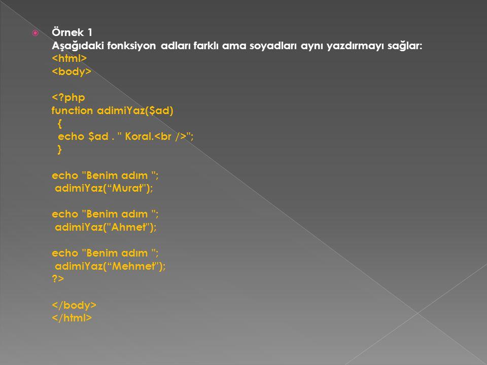  Örnek 1 Aşağıdaki fonksiyon adları farklı ama soyadları aynı yazdırmayı sağlar: