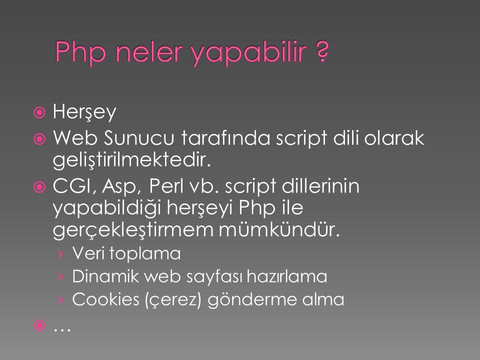 Herşey  Web Sunucu tarafında script dili olarak geliştirilmektedir.  CGI, Asp, Perl vb. script dillerinin yapabildiği herşeyi Php ile gerçekleştir
