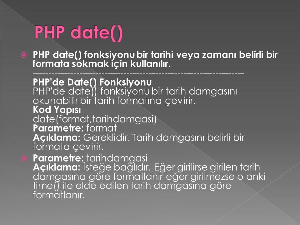  PHP date() fonksiyonu bir tarihi veya zamanı belirli bir formata sokmak için kullanılır. -----------------------------------------------------------