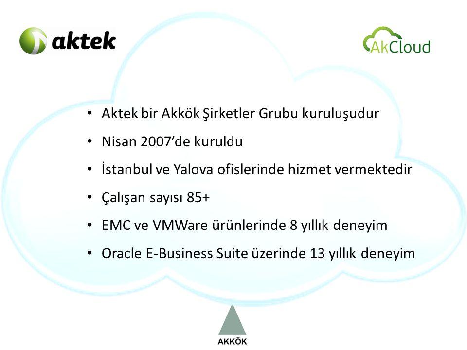 • Aktek bir Akkök Şirketler Grubu kuruluşudur • Nisan 2007'de kuruldu • İstanbul ve Yalova ofislerinde hizmet vermektedir • Çalışan sayısı 85+ • EMC ve VMWare ürünlerinde 8 yıllık deneyim • Oracle E-Business Suite üzerinde 13 yıllık deneyim