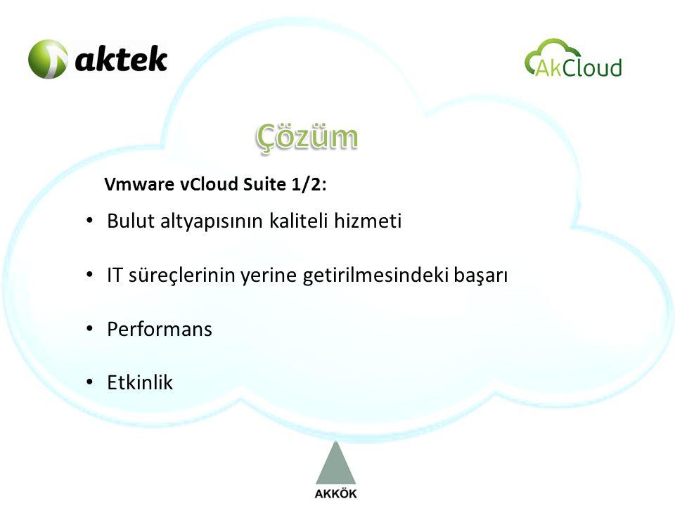 Vmware vCloud Suite 1/2: • Bulut altyapısının kaliteli hizmeti • IT süreçlerinin yerine getirilmesindeki başarı • Performans • Etkinlik
