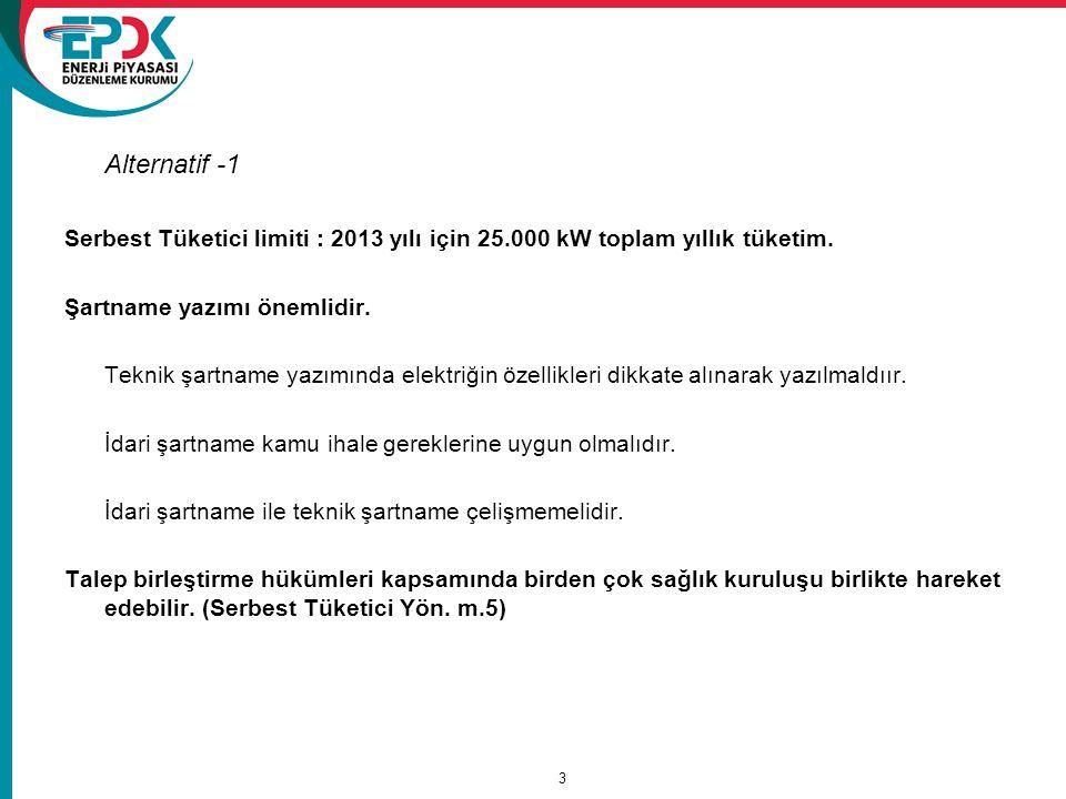 Alternatif -1 Serbest Tüketici limiti : 2013 yılı için 25.000 kW toplam yıllık tüketim.