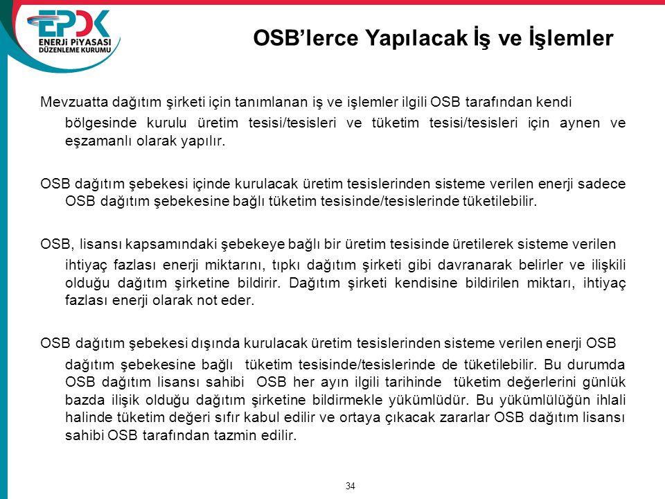 OSB'lerce Yapılacak İş ve İşlemler Mevzuatta dağıtım şirketi için tanımlanan iş ve işlemler ilgili OSB tarafından kendi bölgesinde kurulu üretim tesisi/tesisleri ve tüketim tesisi/tesisleri için aynen ve eşzamanlı olarak yapılır.