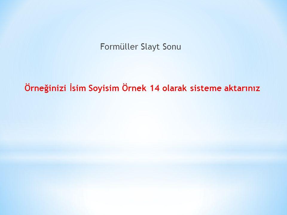 Formüller Slayt Sonu Örneğinizi İsim Soyisim Örnek 14 olarak sisteme aktarınız