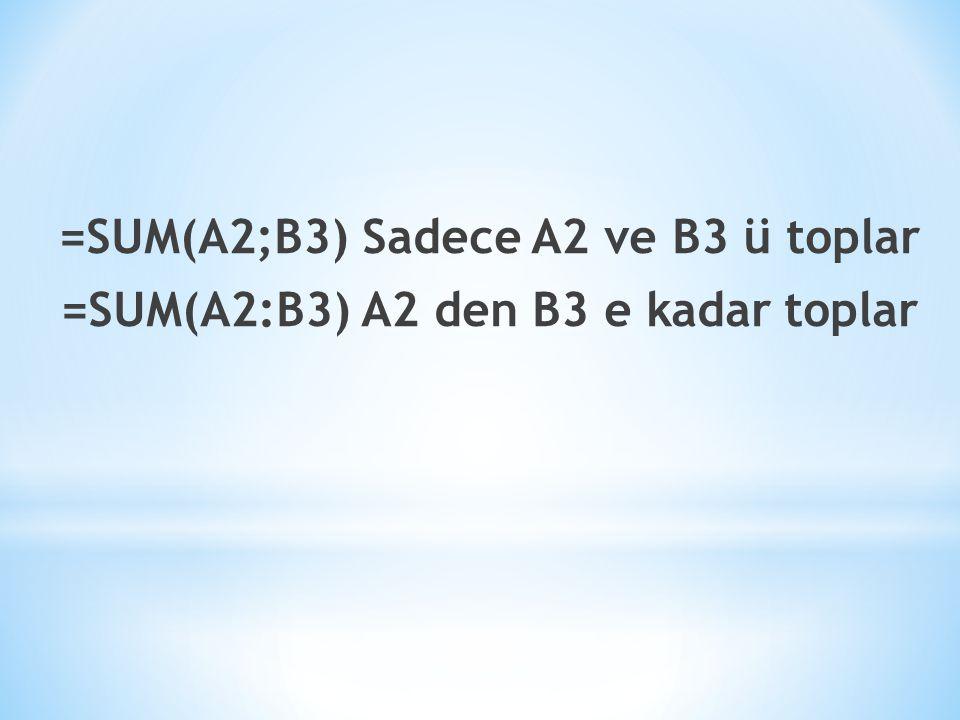 =SUM(A2;B3) Sadece A2 ve B3 ü toplar =SUM(A2:B3) A2 den B3 e kadar toplar