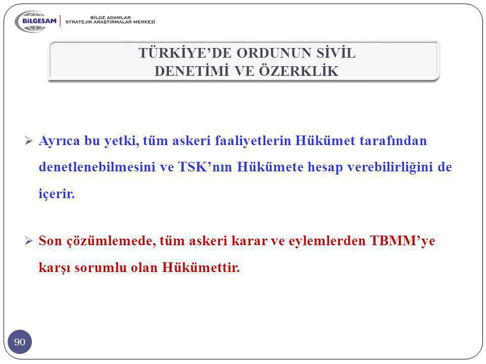 90  Ayrıca bu yetki, tüm askeri faaliyetlerin Hükümet tarafından denetlenebilmesini ve TSK'nın Hükümete hesap verebilirliğini de içerir.  Son çözüml