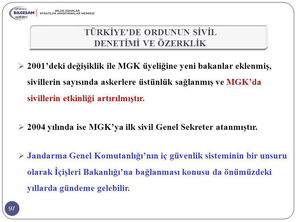 97  2001'deki değişiklik ile MGK üyeliğine yeni bakanlar eklenmiş, sivillerin sayısında askerlere üstünlük sağlanmış ve MGK'da sivillerin etkinliği a
