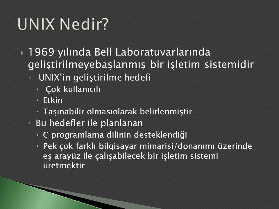  1969 yılında Bell Laboratuvarlarında geliştirilmeyebaşlanmış bir işletim sistemidir ◦ UNIX'in geliştirilme hedefi  Çok kullanıcılı  Etkin  Taşına