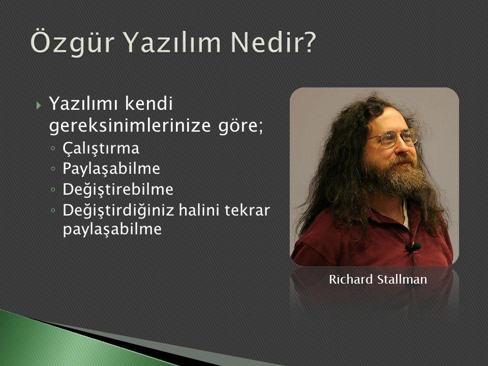  Yazılımı kendi gereksinimlerinize göre; ◦ Çalıştırma ◦ Paylaşabilme ◦ Değiştirebilme ◦ Değiştirdiğiniz halini tekrar paylaşabilme Richard Stallman