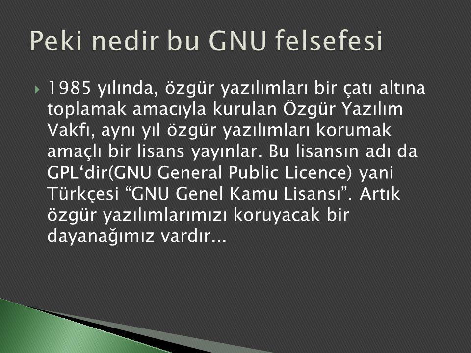 GPL'in temel olarak koruduğu 4 hak vardır: ◦ Her türlü amaç için programı çalıştırma özgürlüğü (özgürlük 0).