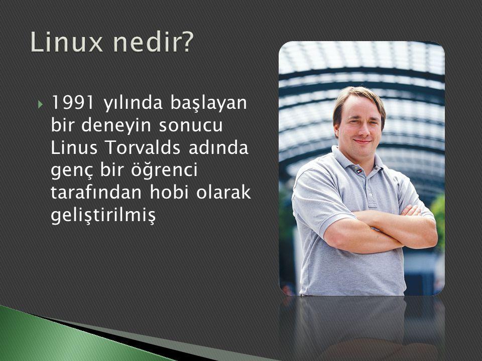  Linux ilk defa i386 mimarisi için geliştirilmiştir  UNIX benzeri bir işletim sistemi çekirdeğidir  GNU Genel Kamu Lisansı (GPL) ile dağıtılmaktadır  GNU felsefesi ürünü diğer özgür yazılımlar ile desteklenmektedir