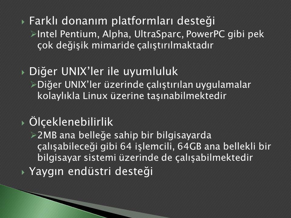  Farklı donanım platformları desteği  Intel Pentium, Alpha, UltraSparc, PowerPC gibi pek çok değişik mimaride çalıştırılmaktadır  Diğer UNIX'ler il