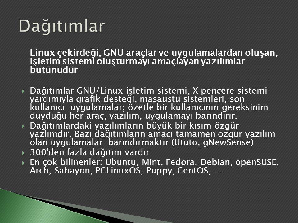 Linux çekirdeği, GNU araçlar ve uygulamalardan oluşan, işletim sistemi oluşturmayı amaçlayan yazılımlar bütünüdür  Dağıtımlar GNU/Linux işletim siste