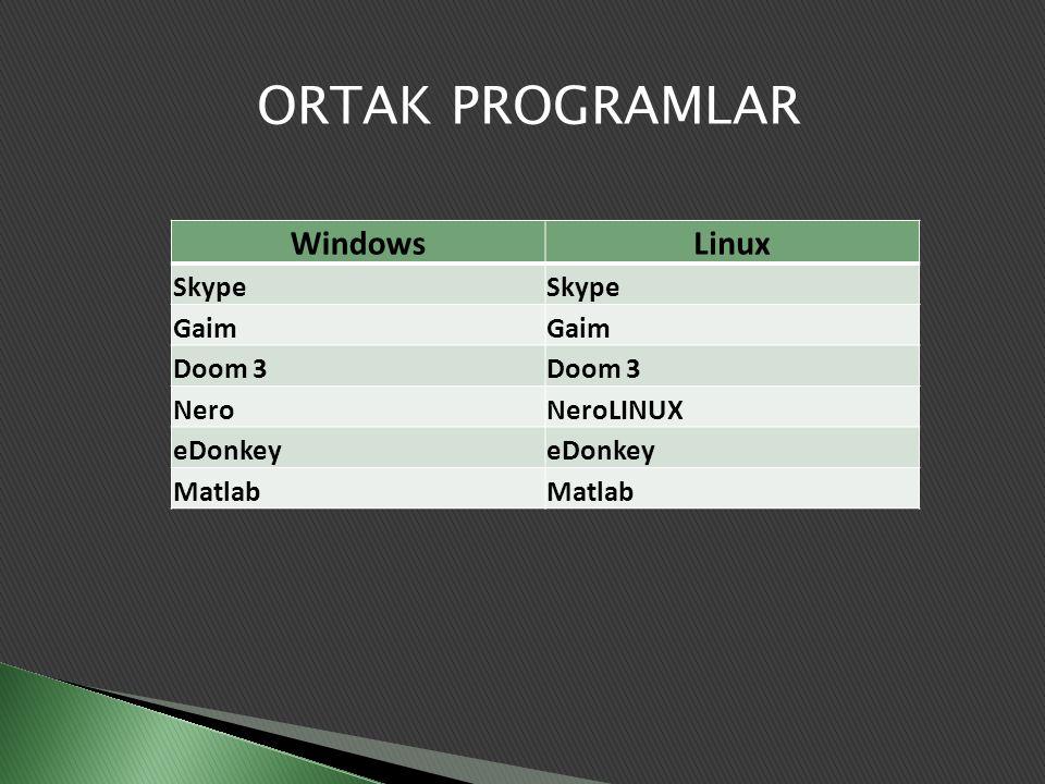 ORTAK PROGRAMLAR WindowsLinux Skype Gaim Doom 3 NeroNeroLINUX eDonkey Matlab
