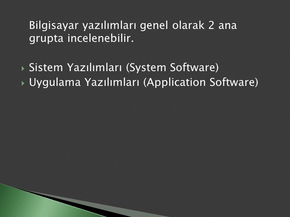  Bilgisayarın kendisinin işletilmesini sağlayan, işletim sistemi, derleyiciler (compilers) (Yazılım programında, yazılan programı makine diline çeviren program), çeşitli donatılar (facility) gibi yazılımlardır.