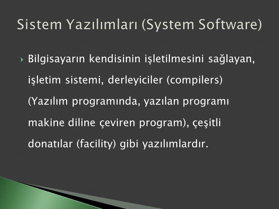  Bilgisayarın kendisinin işletilmesini sağlayan, işletim sistemi, derleyiciler (compilers) (Yazılım programında, yazılan programı makine diline çevir