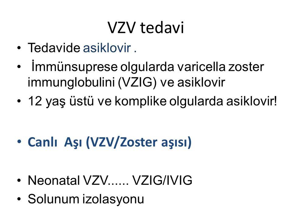 VZV tedavi •Tedavide asiklovir.