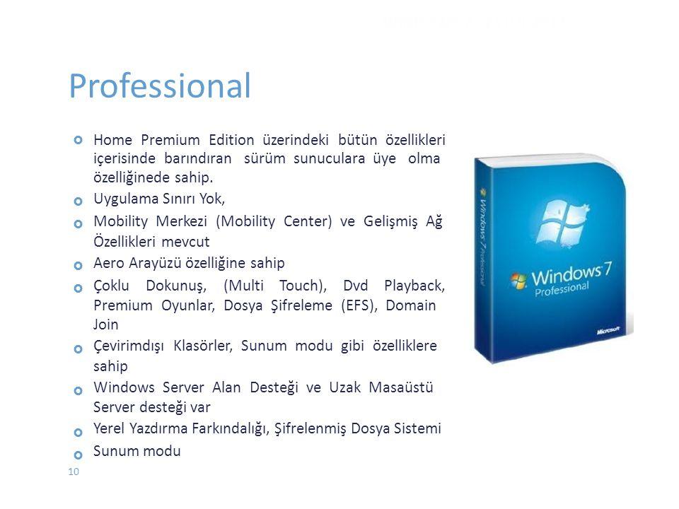 Professional  Home Premium Edition üzerindeki bütün özellikleri içerisinde barındıran sürüm sunuculara üye olma özelliğinede sahip.