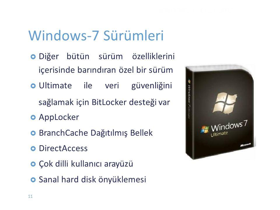  Diğerbütün sürüm özelliklerini içerisinde barındıran özel bir sürüm  Ultimateileverigüvenliğini WINDOWS 7 - EYLÜL 2012 Windows-7 Sürümleri sağlamak