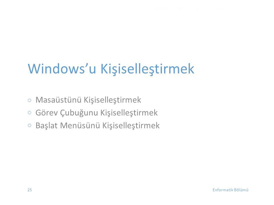 Windows'u Kişiselleştirmek oooooo Masaüstünü Kişiselleştirmek Görev Çubuğunu Kişiselleştirmek Başlat Menüsünü Kişiselleştirmek WINDOWS 7 - EYLÜL 2012