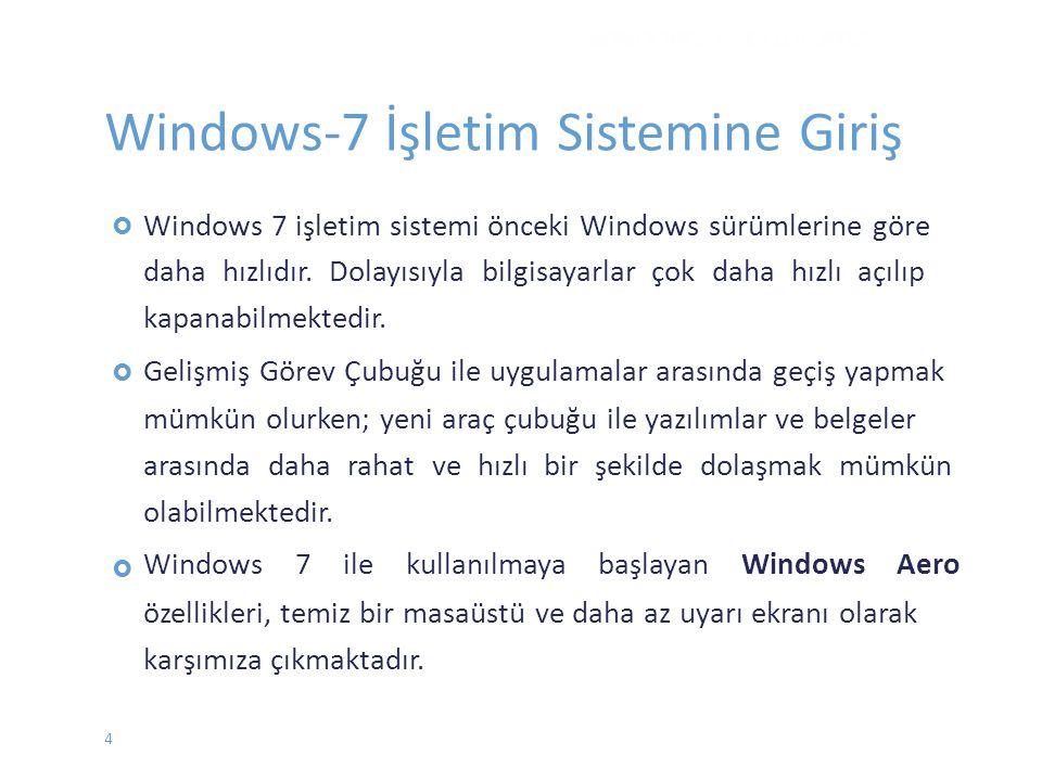 WINDOWS 7 - EYLÜL 2012 Windows-7 İşletim Sistemine Giriş Windows 7 işletim sistemi önceki Windows sürümlerine göre daha hızlıdır. Dolayısıyla bilgisay