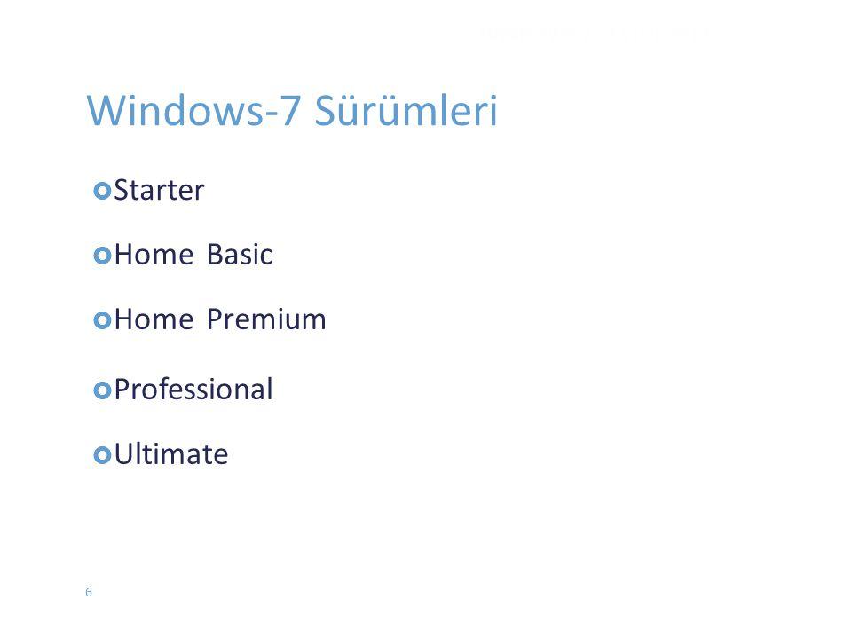  Home Basic Premium  Professional  Ultimate WINDOWS 7 - EYLÜL 2012 Windows-7 Sürümleri  Starter 6