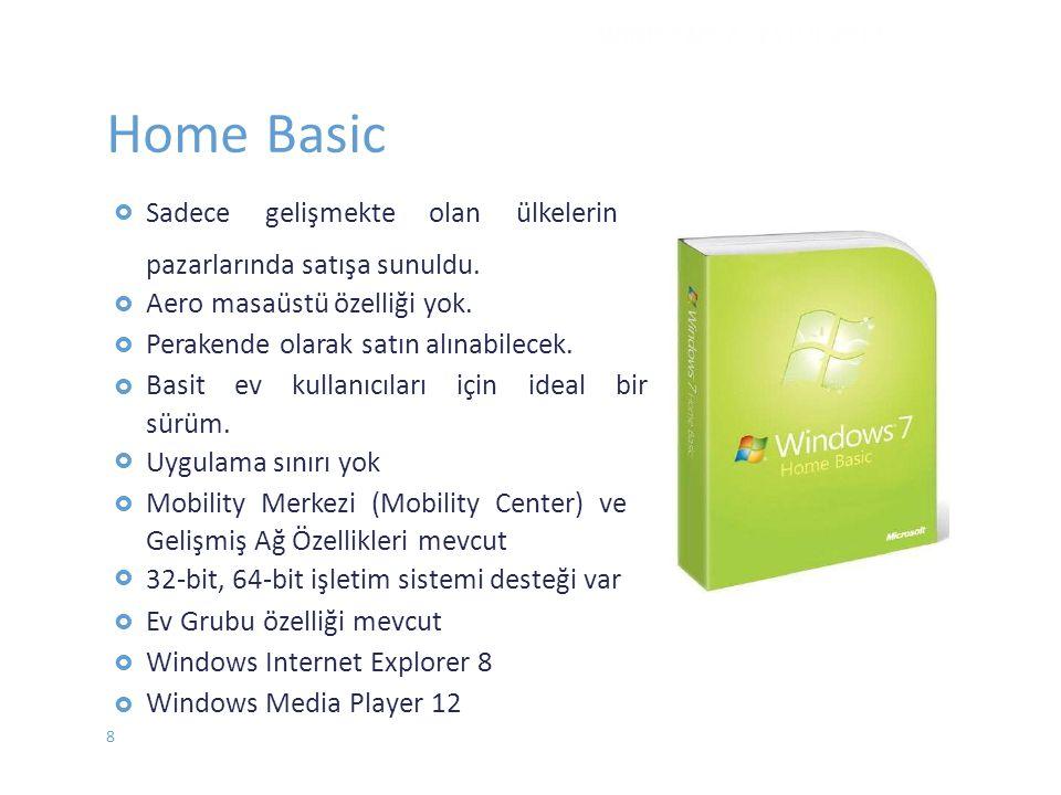 Home Basic  Sadecegelişmekteolanülkelerin  pazarlarında satışa sunuldu. Aero masaüstü özelliği yok. Perakende olarak satın alınabil