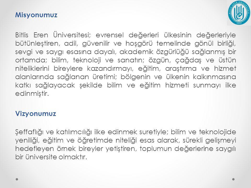Misyonumuz Bitlis Eren Üniversitesi; evrensel değerleri ülkesinin değerleriyle bütünleştiren, adil, güvenilir ve hoşgörü temelinde gönül birliği, sevg