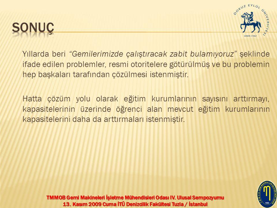 """TMMOB Gemi Makineleri İşletme Mühendisleri Odası IV. Ulusal Sempozyumu 13. Kasım 2009 Cuma İTÜ Denizcilik Fakültesi Tuzla / İstanbul Yıllarda beri """"Ge"""